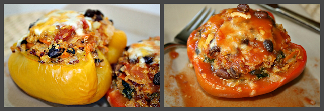 Quinoa stuffed peppers photo collage