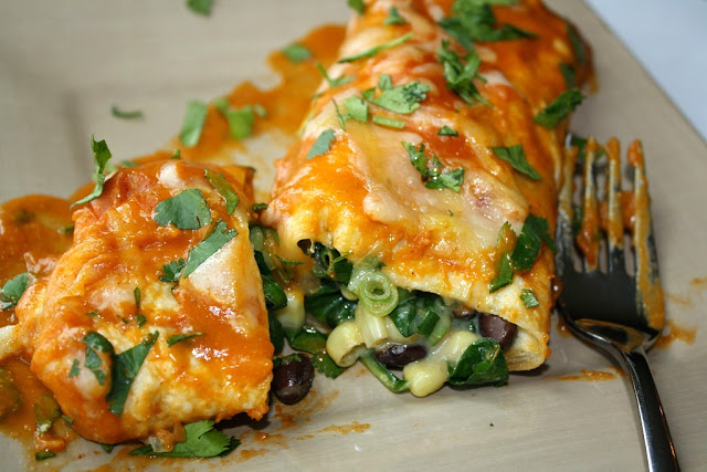 Black Bean Spinach Enchiladas with Homemade Sauce