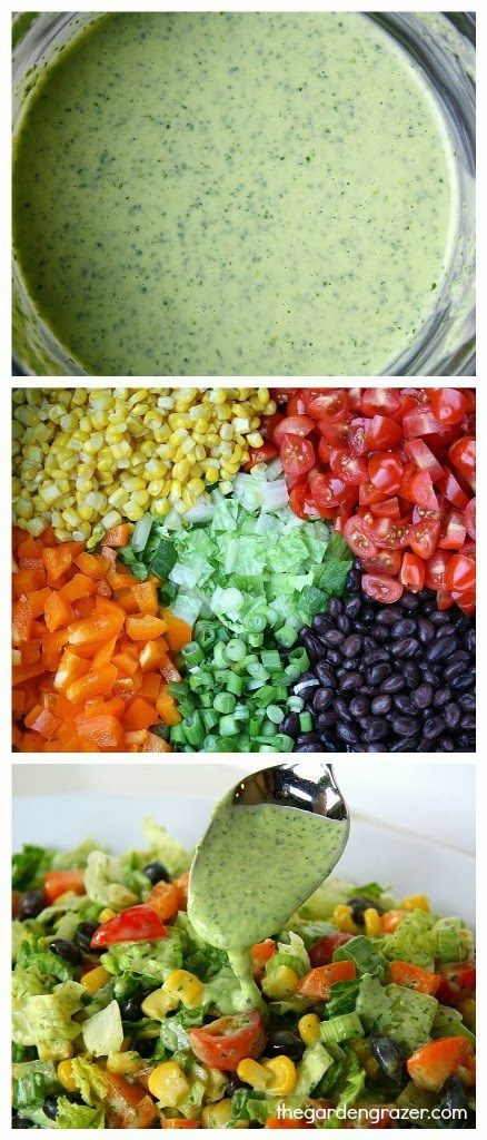 Vegan Southwestern Chopped Salad tossed in a creamy avocado cilantro-lime dressing