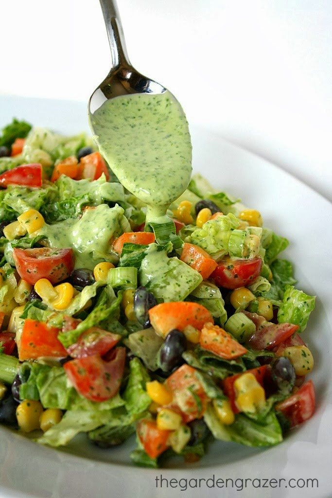 Southwestern Chopped Salad tossed in a creamy avocado cilantro-lime dressing