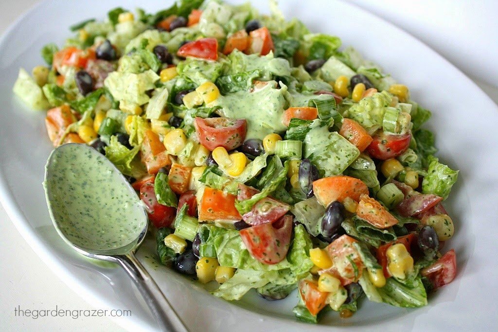 Southwestern Chopped Salad with creamy cilantro-lime dressing on a plate