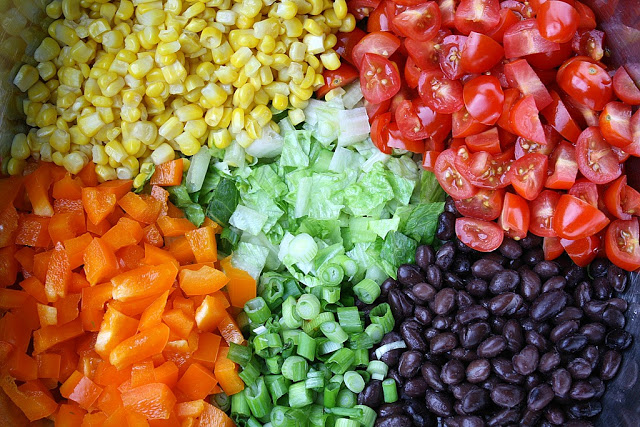 Southwestern Chopped Salad ingredients before mixing