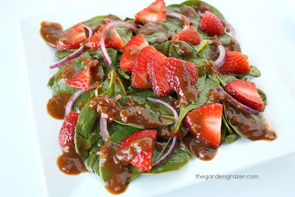 Spinach salad on a plate with strawberries and a tomato balsamic vinaigrette