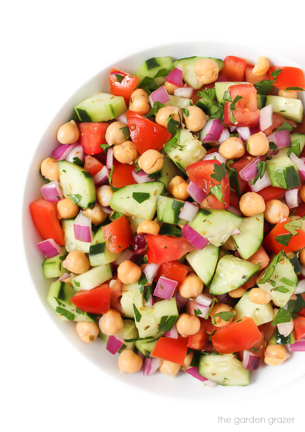 Ultimate Greek Chopped Salad with garbanzo beans