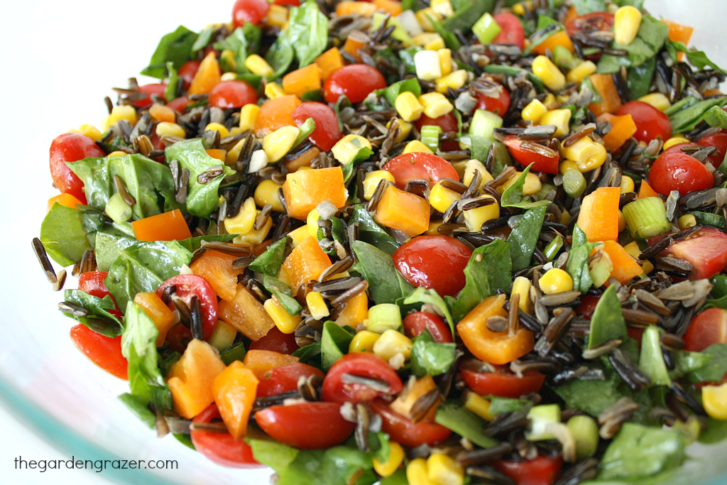 Wild rice spinach salad in a bowl