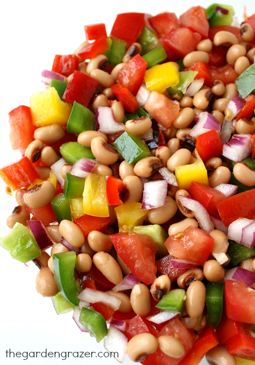 Vegan black eyed pea salad with bell peppers, tomato, and onion