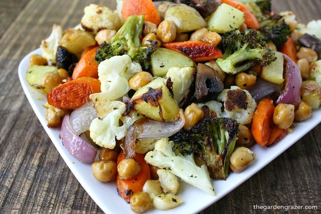 Sheet pan vegetables and chickpeas on a small plate