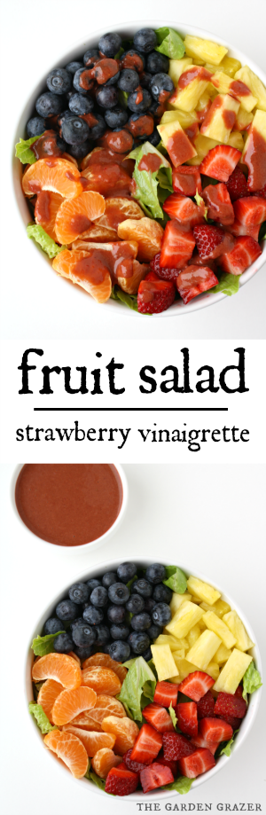 Fruit tossed salad with strawberry vinaigrette photo collage