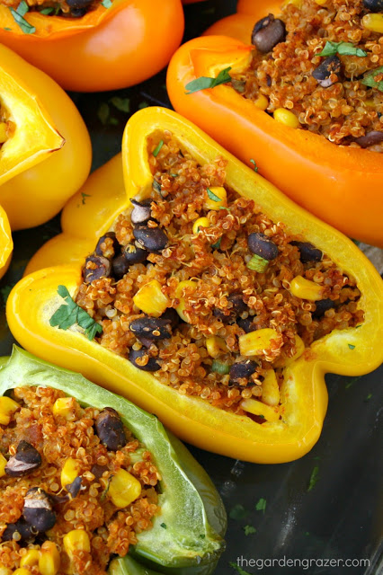 Mexican Quinoa Stuffed Peppers close-up after baking