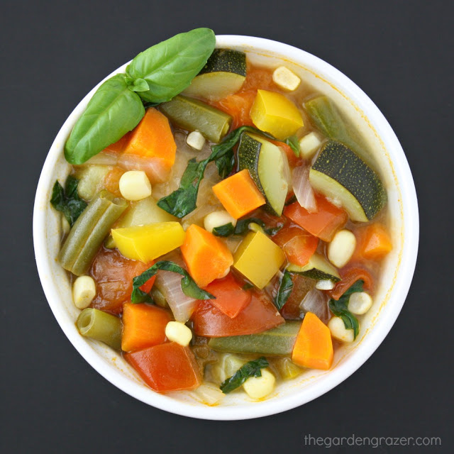 Small bowl of garden vegetable soup with fresh basil