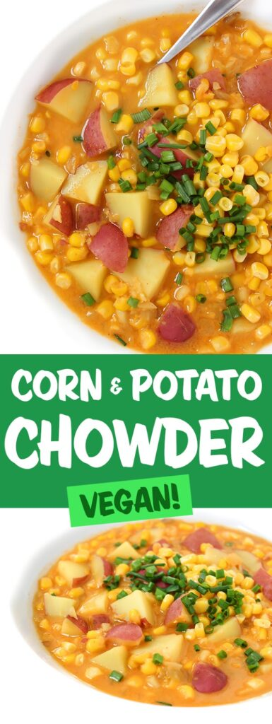Bowls of corn and potato chowder