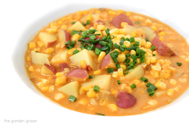 Potato and Corn Chowder in a bowl