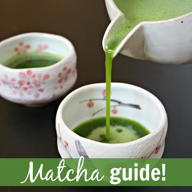 Organic green matcha tea poured into a cup