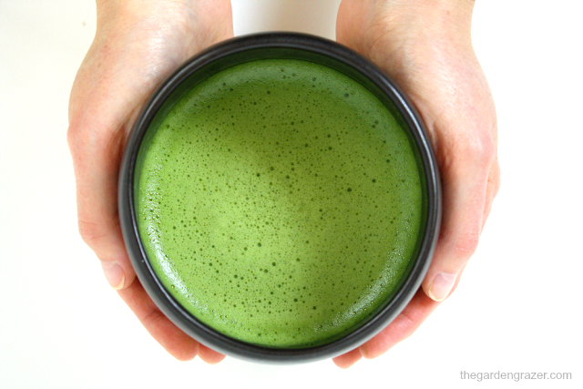 Hands holding a hot frothy bowl of whisked matcha green tea