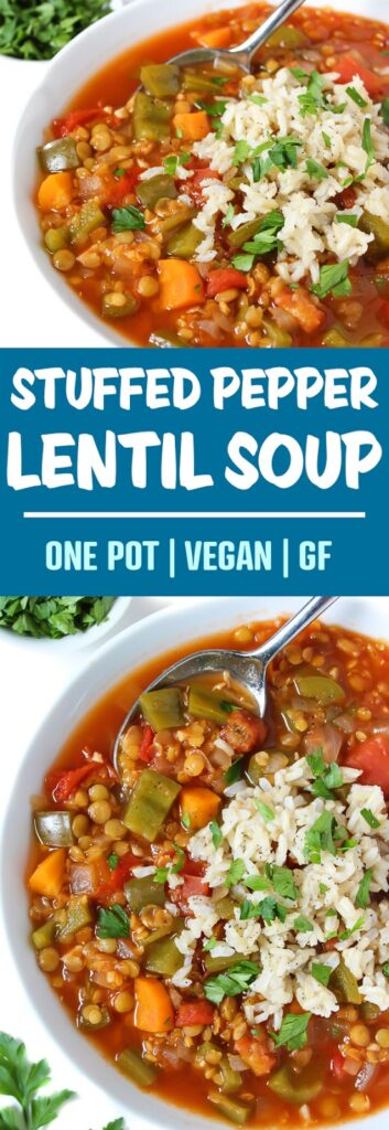 Vegan lentil stuffed pepper soup topped with rice