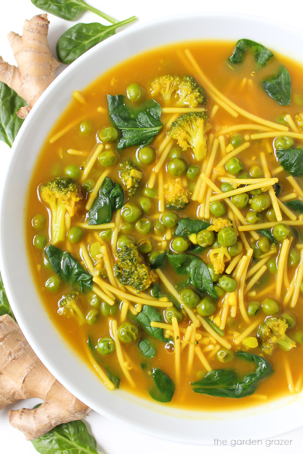 Healing Turmeric Noodle Soup with spinach