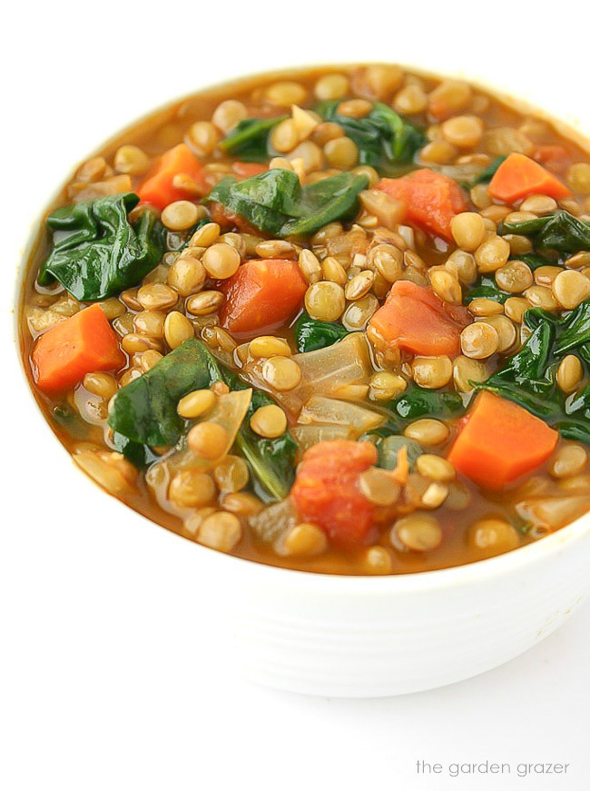 Lentil spinach soup in a bowl