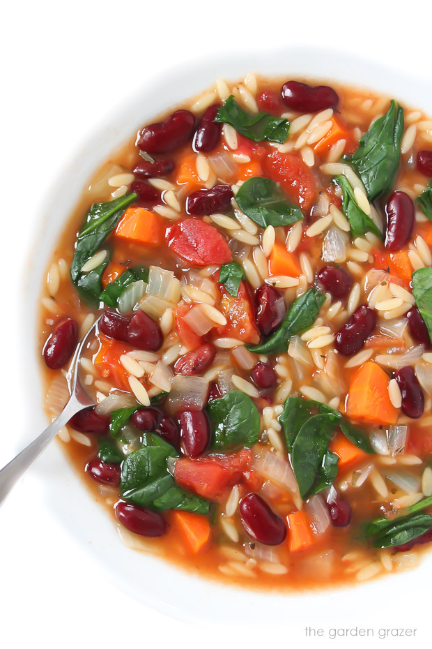 Kidney bean, orzo, spinach, soup